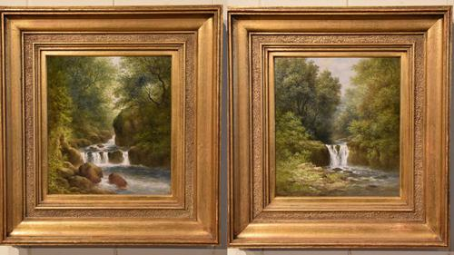 """Oil Painting Pair by William Ward Gill """"Falls at the Head of Loch Lomond"""" (1 of 8)"""
