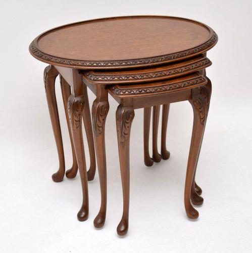 Antique Burr Walnut Nest of Three Tables (1 of 10)