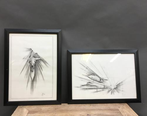 Pair 1950/60's Aeronautical Sketches, Signed (1 of 8)