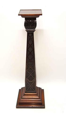 Elegant Victorian Walnut & Mahogany pedestal or statue stand (1 of 11)