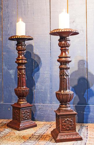 Pair of Tall Cast Iron Pricket Candlesticks (1 of 9)