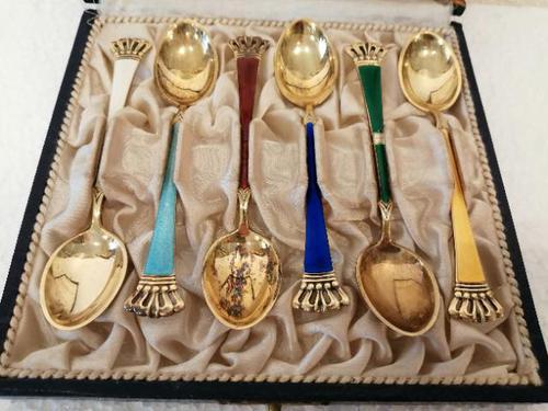 Set of Six Danish Enamel & Silver Gilt Spoons (1 of 7)