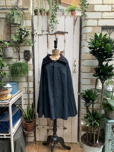 Antique French handmade indigo blue striped linen cape or cloak with black wool collar one size (1 of 10)