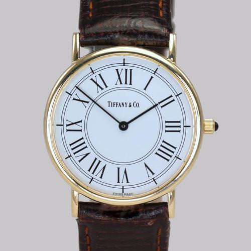 Vintage Tiffany & Co 14ct Solid Gold 31mm Slim Thin Men's / Ladies Quartz Watch with box (1 of 15)