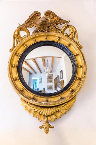 Regency Giltwood & Gesso Circular Convex Mirror (1 of 4)