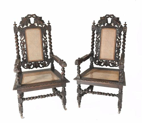 Pair of Carved Oak Armchairs Farmhouse Gothic Barley Twist 1880 (1 of 8)