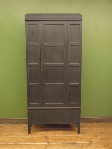 Antique Black Painted Linen Cupboard with Shelves, Gothic Shabby Chic (1 of 14)
