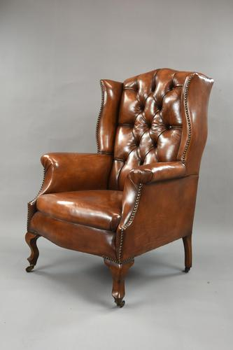 Stunning 19th Century Leather Wing Chair (1 of 6)