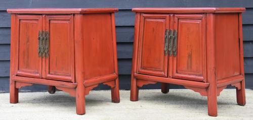 Excellent Pair of Chinese Red Lacquered Cabinets / Cupboards c.1900 (1 of 14)