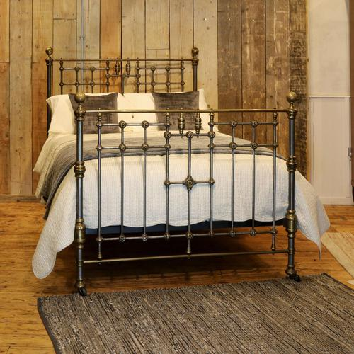 Late Victorian Cast Iron, Steel & Brass Antique Bed (1 of 9)