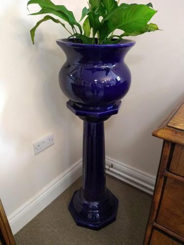 Blue Glazed Jardiniere on Stand (1 of 5)