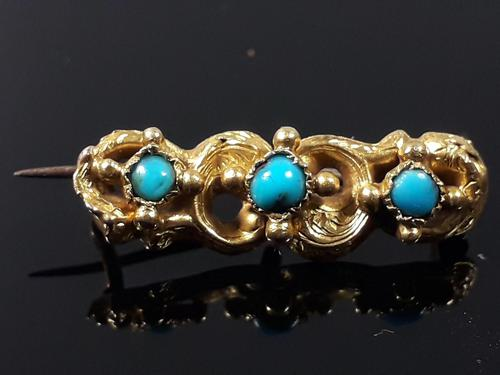 Antique Victorian 18ct Gold Turquoise Dainty Brooch (1 of 9)