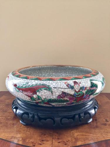 Chinese Crackle-glaze Bowl on Wooden stand, Qing Dynasty (1 of 10)