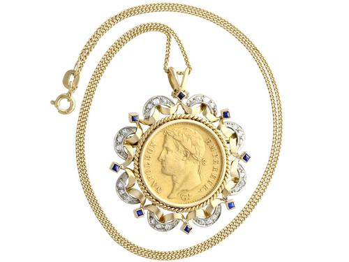 0.16ct Sapphire and 0.40ct Diamond, 18ct Yellow Gold and 22ct Gold Coin Pendant / Brooch - Antique French c.1890 (1 of 9)