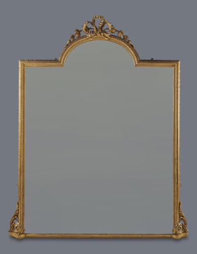 Stunning Very Large English Victorian Gilt Overmantle Mirror (1 of 7)