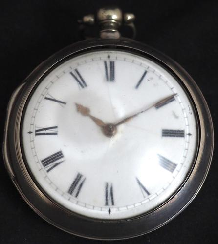 Antique Silver Pair Case Pocket Watch Fusee Verge Escapement Key Wind Enamel Dial James Bucknell (1 of 11)