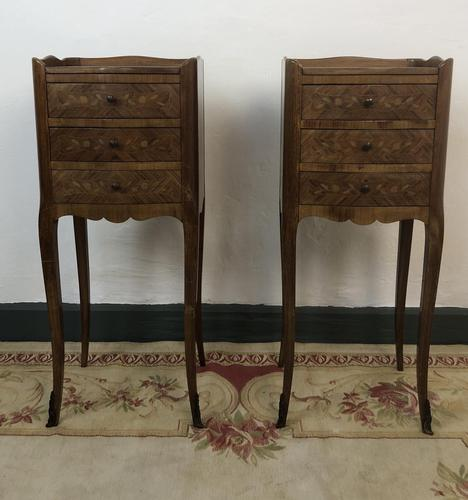 French Marquetry Kingwood Bedside Tables Rustic Distressed (1 of 13)