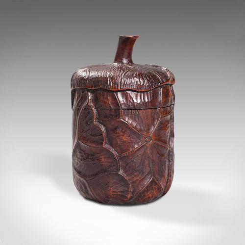 Small Antique Lidded Pot, Oriental, Chinese Elm, Carved Treen, Victorian, C.1900 (1 of 12)