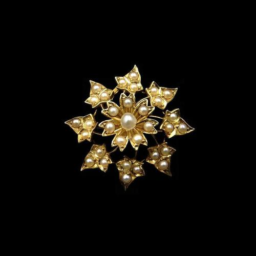 Antique Victorian Pearl Ivy Flower 15ct 15K Yellow Gold Brooch and Pendant (1 of 10)