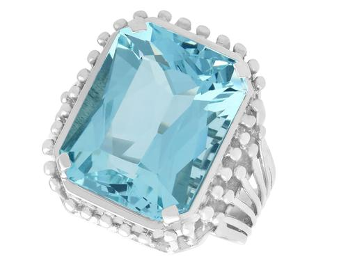 11.81ct Aquamarine & Platinum Cocktail Ring - Vintage c.1950 (1 of 9)