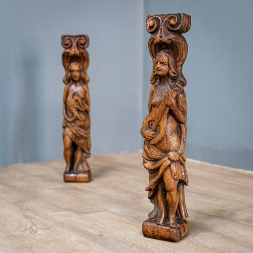 Pair of Bird & Lute Carved Figures (1 of 9)