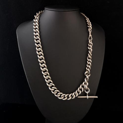 Antique Silver Albert Watch Chain, Heavy (1 of 13)