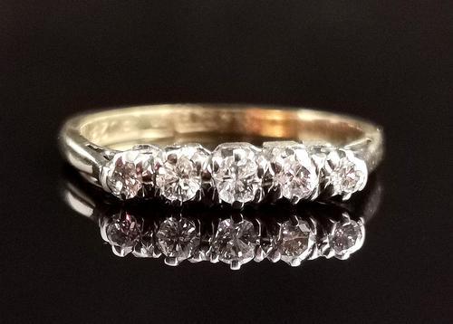 Antique Diamond Half Hoop Ring, Five Stone, 18ct Gold (1 of 13)