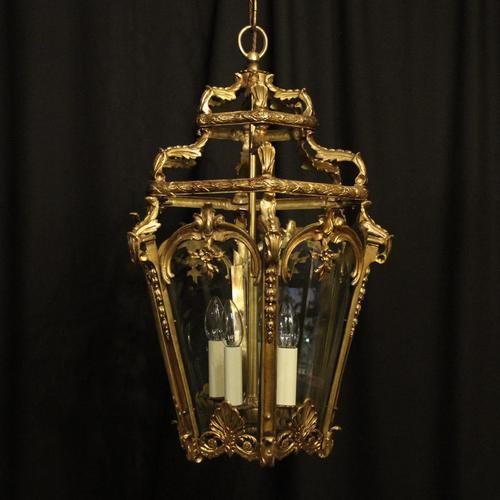 French 19th Century Gilt Bronze Antique Hall Lantern (1 of 10)