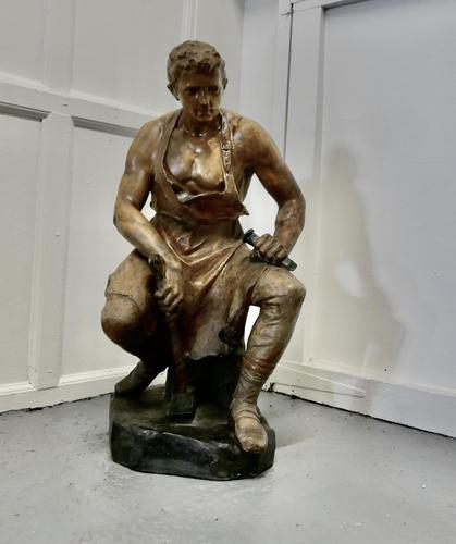 Large 1920s Plaster Figure of the Seated Blacksmith, Le Travail (1 of 12)