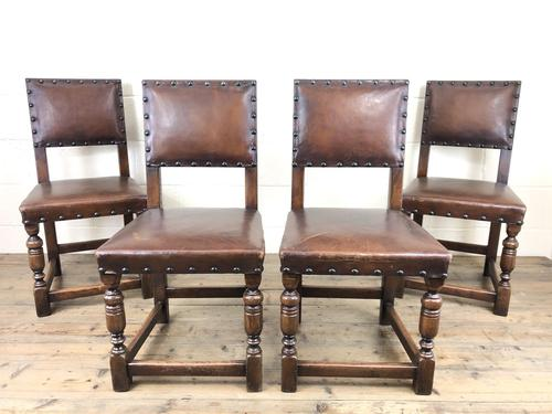 Set of 4 Early 20th Century Leather Dining Chairs (1 of 10)