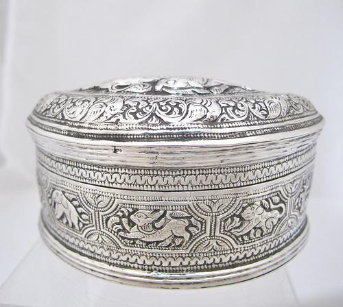 Beautiful Antique Silver Shan States Burmese Lime Box c.1900 (1 of 8)