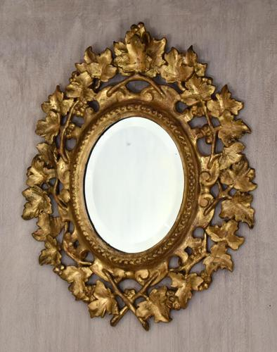 Small English Giltwood Oval Mirror (1 of 8)