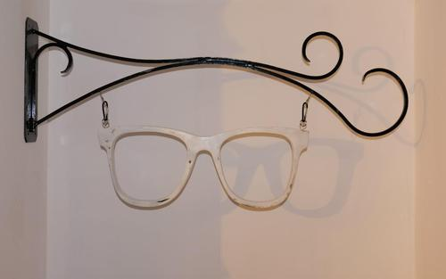 Vintage Opticians Wrought Iron Wall Bracket with White Painted Timber Spectacles (1 of 8)