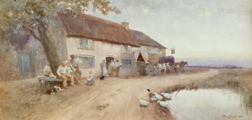 Tom Lloyd Watercolour 'Resting Outside The Inn' (1 of 4)