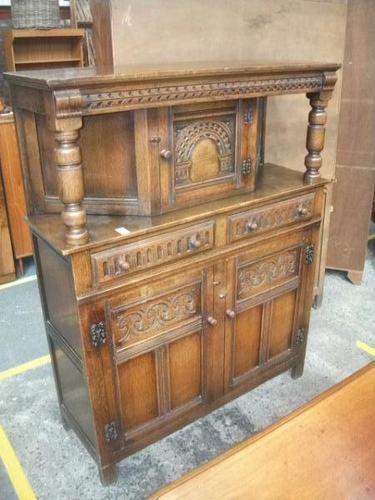 Carved Oak Court Cupboard (1 of 3)