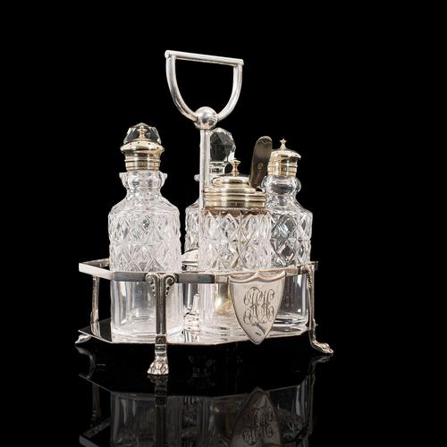 Antique Condiment Serving Set, English, Silver Plate, Table, Ashbury, Edwardian (1 of 12)