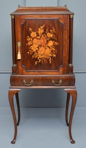Edwardian Mahogany & Marquetry Cabinet (1 of 8)