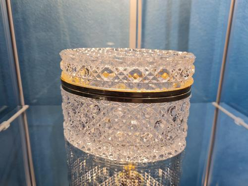 Antique Bohemian Cut to Clear Glass Crystal Box with Gilded Metal Mount (1 of 9)