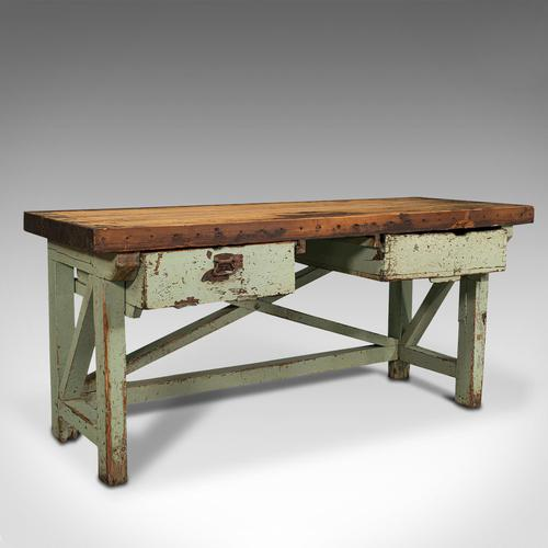 Large Antique Silversmith's Table, English, Pine, Industrial, Bench, Victorian (1 of 12)