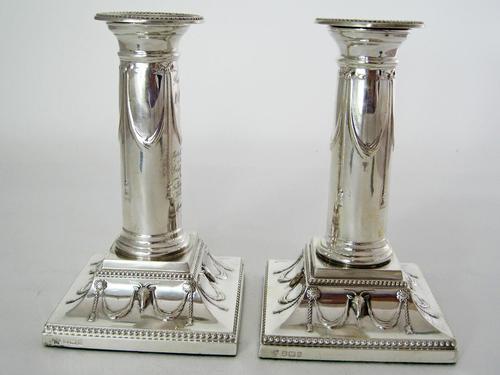 "Pair of Elegant 14cm (5.5"") Edwardian Silver Candlesticks (1 of 8)"