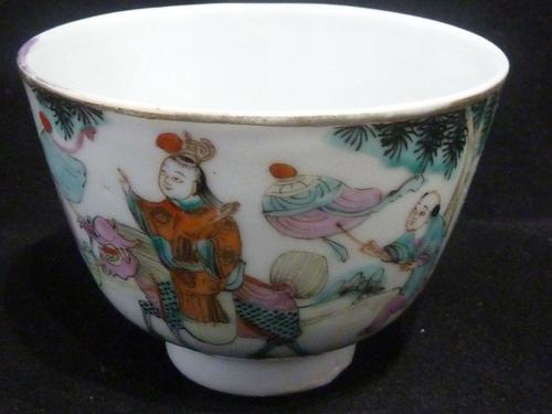 Antique Chinese Early 20th Century Famille Rose Teabowl - Kylin - Signed (1 of 5)