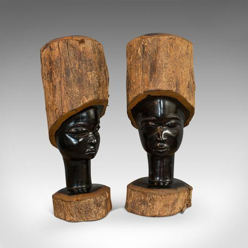 Pair Of, Antique Carved Heads, African, Ebony, Decorative Statue, Victorian (1 of 11)