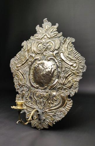 Large Early 18th Century Silvered Repoussé Wall Sconce (1 of 5)