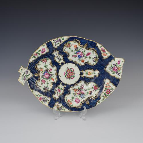 Large First Period Worcester Porcelain Blue Scale Leaf Dish c.1770 (1 of 8)