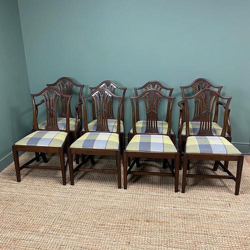 Set of 8 Hepplewhite Design Antique Mahogany Dining Chairs (1 of 10)