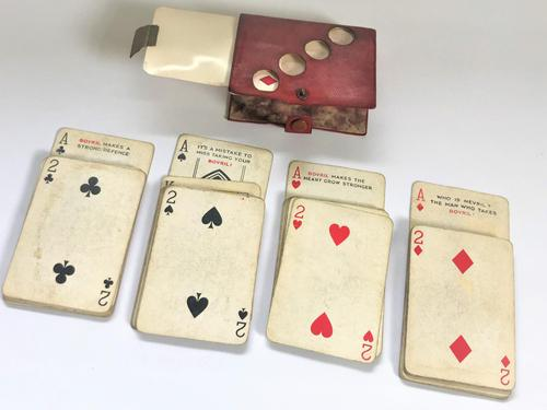 Unusual set of vintage 'Bovril' playing cards with trump marker case (1 of 8)