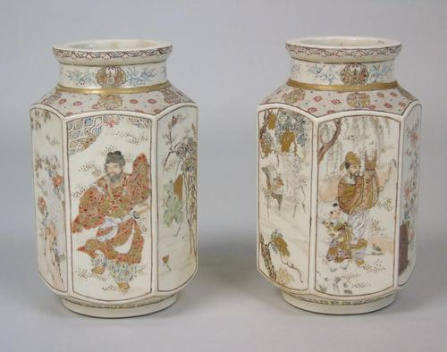 Good Pair of 19th Century Japanese Satsuma Vases (1 of 11)