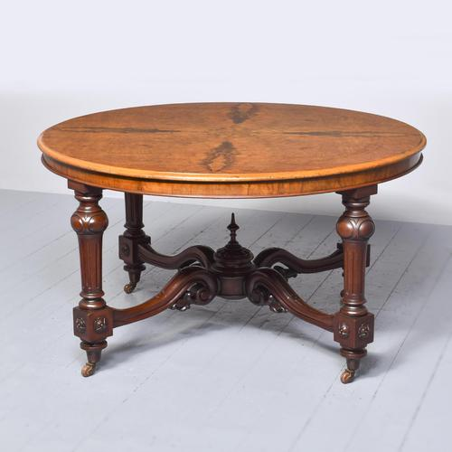 Exceptional Quality Large, Figured Walnut Victorian Centre Table (1 of 6)