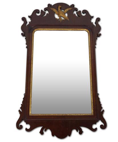 George III Period Mahogany Fret Frame Mirror (1 of 4)