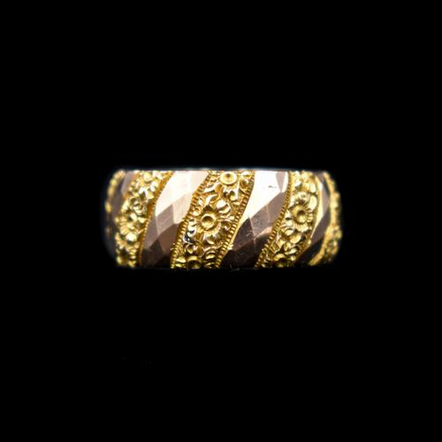 Antique Chunky Fancy Patterned 9ct 9K Gold Stacking Band Ring (1 of 8)